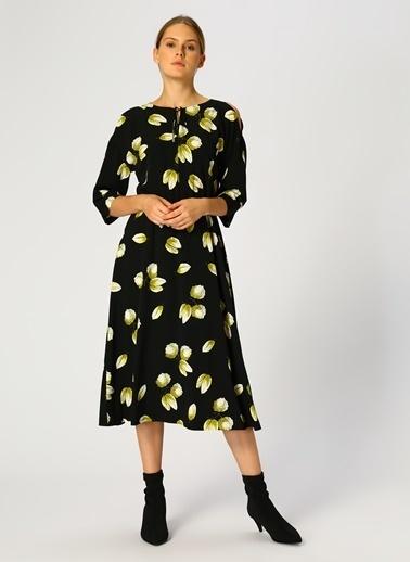 House Of Camellia Desenli Uzun Elbise Renkli